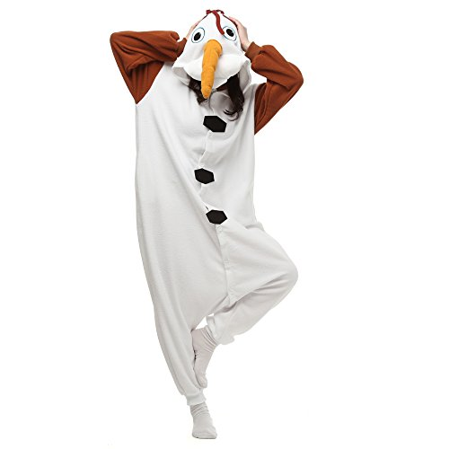 VU ROUL Halloween Costume Olaf Onesie Adult Soft Pajamas XL White ()