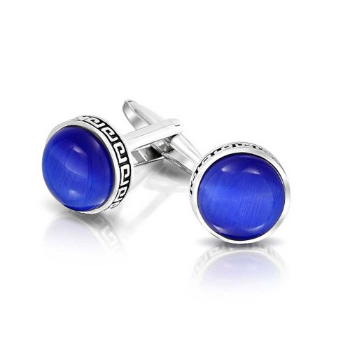 (Bling Jewelry Greek Key Edge Royal Blue Glass Round Dome Shirt Cufflinks for Men Hinge Back Silver Tone Brass Steel)