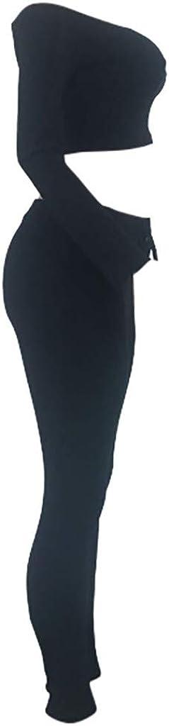 Reizvolle Bodycon Paket H/üfte Hosen Beil/äufig Outfit Sport Bekleidung SOMESUN Damen Mode 2 St/ück Set Outfits Langarm Crop Top Tr/ägerlos T-Shirt