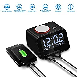 Homtime Alarm Clock with Bluetooth & Charger: Dual USB Charging & Bluetooth Speaker - 3.2 LCD Display Screen Dimmable Light Digital Alarm Clocks for Kids/Girls/Adult Bedroom (Black)