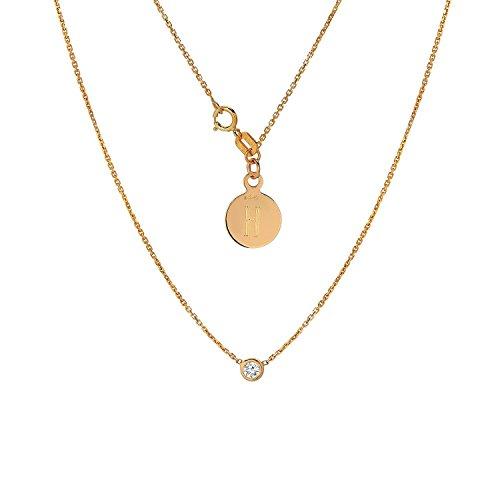 (Tousi Diamond Solitaire Necklace - Bezel set Necklaces - Solid 14K or 18Karat Rosz Gold Pendant - White Natural Stone - Elegant Jewelry Gift - Minimalist Pendants and Choker- Free Engraving)