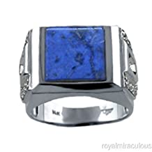 Mens Diamond & Lapis Ring in Sterling Silver or Yellow Gold Plated