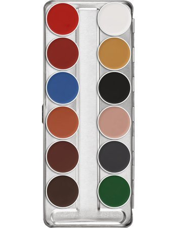 Kryolan AQUACOLOR PALETTE 12 COLORS 1104 B Professional Grade Makeup