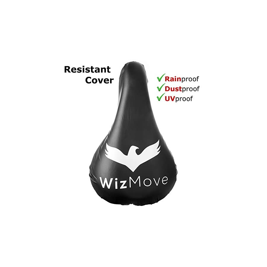 WizMove Gel Bike Seat Cover | Bicycle Saddle Cushion with Non Slip Pads and Premium Waterproof Cover | Extra Padded Comfort for Road Mountain or Spinning Class Cycling