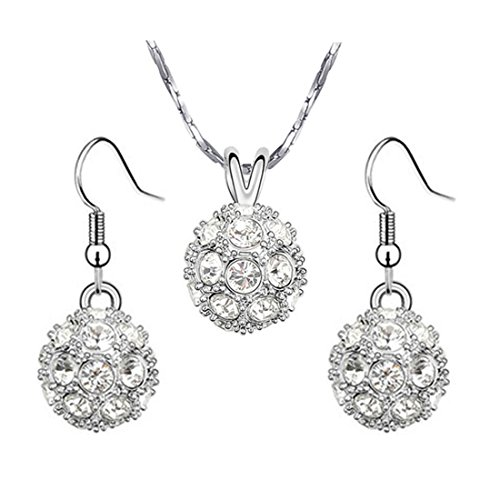 yoursfs 18K White Gold Plated Necklace and Earring Set Silver - 2