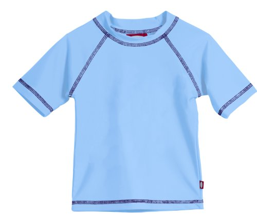 Little Boys' and Girls' Solid Rashguard Swimming Tee Shirt Rash Guard SPF Sun Protection for Summer Beach Pool and Play, Bright Lt. Blue, 4, S/S ()