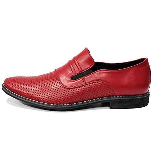 Peppeshoes Modèle Slipredo - Mocassins Rouges Et Slip-on En Cuir Fait À La Main Italien Hommes - En Cuir Perlé En Relief - Slip On