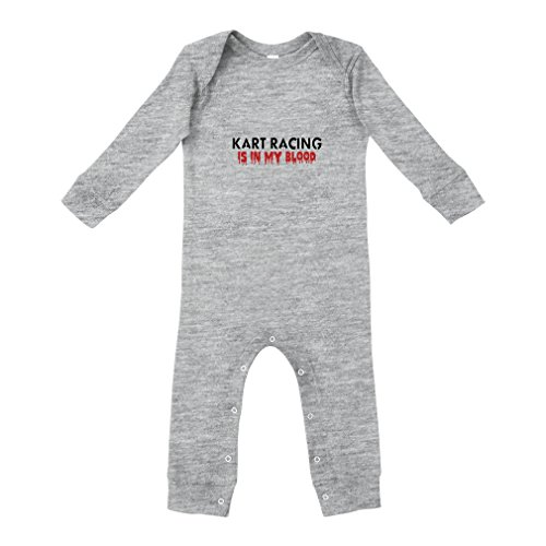 Kart Racing is in My Blood Sport Cotton Long Sleeve Envelope Neck Unisex Baby Legged Long Rib Coverall Bodysuit - Oxford Gray, 12 Months
