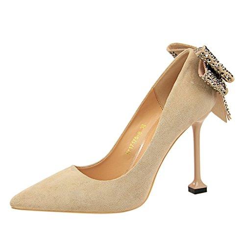 à bow chaussures Couleur femmes les sexy 38 célibataires États et femmes ALUK Kaki taille L'Europe hauts pour Chaussures long240mm Shoes Rouge chaussures talons Unis pointu 6zwUUCqOx