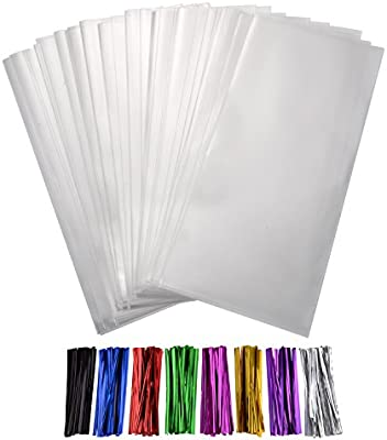 Shappy 300 Piezas Bolsas Transparentes de Dulces Bolsa OPP Gruesa 4 por 6 Pulgadas con 8 Colores Precintos para Galletas Regalos Caramelos de Boda ...
