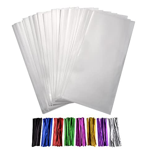 Shappy 300 Pieces Clear Treat Bags Thick OPP Bag 4 by 6 Inch with 8 Colors Twist Ties for Wedding Cookie Gift Candy Buffet Supply - Borsa Di Opp
