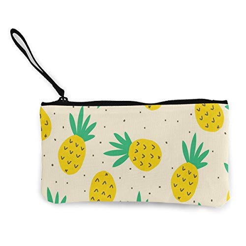 - Tropical Watercolor Pineapple Pattern Women's Travel Makeup Bags Canvas Coin Purse Unique Small Clutch Pouch Cosmetic Organizer Bag