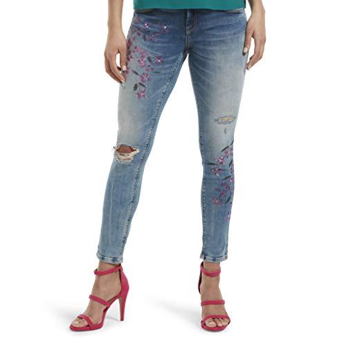HUE Women's Fashion Denim Jean Skimmer Leggings, Painted Floral/Light Wash, L