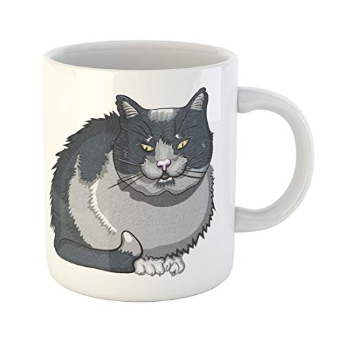 (Emvency Funny Coffee Mug Evil Black Cat White Adorable Animal Bad Carnivore Cartoon Character Clip 11 Oz Ceramic Coffee Mug Tea Cup Best Gift Or)