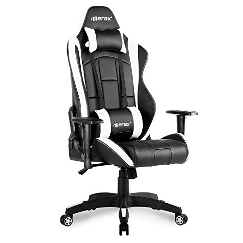 Merax. Racing Gaming Chair High Back Desk Ergonomic Design Computer (Black and White) by Merax.