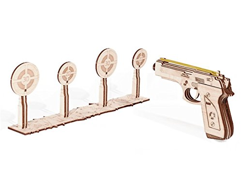 Wood Trick 3D Mechanical Model Kit Gun Pistol Rubber Band With Targets Wooden Puzzle, Assembly Constructor Brain Teaser DIY Toy IQ (Make Wooden Toy Gun)