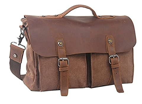 Iblue Canvas Leather Messenger Shoulder Tote Bag College Briefcase #i1023 (Coffee) - Lambskin Leather Tote Bag