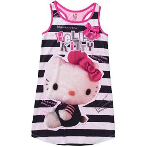 Hello Kitty Girls License Pajama Tank Sleep Gown (S 6/6X, Pink/Black)