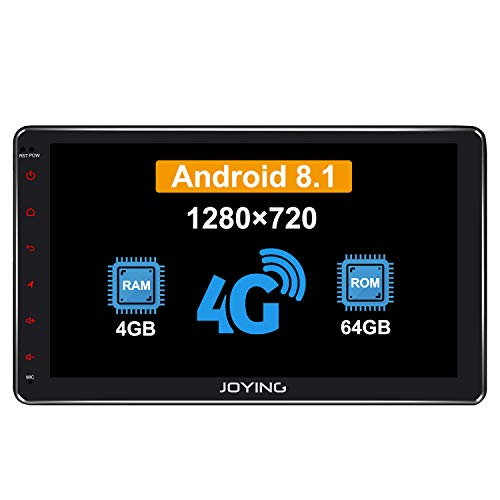 JOYING 10.1 Double Din Android 8.1 4GB + 64GB Car Stereo Built-in DSP LCD Touchscreen with 4G SIM Card Slot & 1280×720P Reslution - Supprot Android Auto DSP SPDIF Fast Boot WiFi OBD2 TPMS DVR