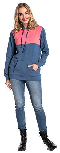 Happy Mama. Para Mujer Sudadera Capucha Panel de la Lactancia Top Premamá. 512p Coral & Azul Jeans