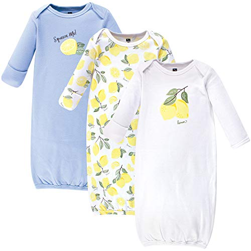 Hudson Baby Baby Cotton Gowns, Lemon 3 Pack, 0-6 Months