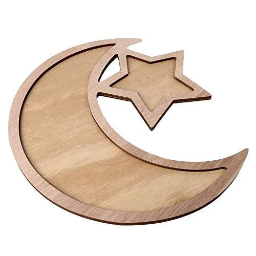 wu Islam Eid Ramadan Mubarak Snack Decorations Rustic Plain Wooden Crescent Moon & Star Eid/Ramadan Food Serving Tray