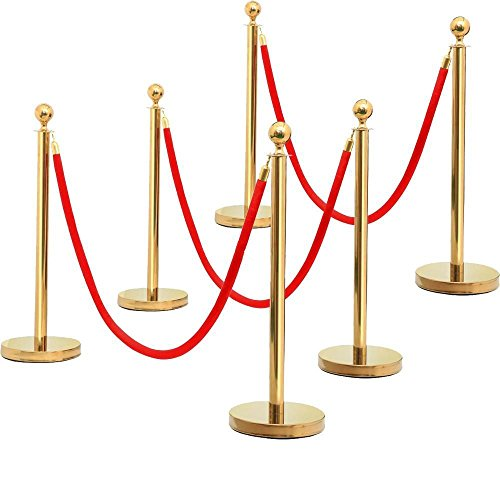 go2buy 3 Set Gold Round Top Stainless Steel Stanchion Crowd Control Rope Barrier w/6.5' Red Rope