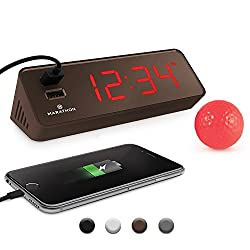 Marathon CL030055CO LED Alarm Clock with Two Fast Charging, Front Facing USB Ports. Great for Travelling. Coco. Hotel Commercial Grade