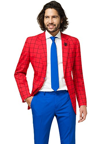 Spider Man Suit (Opposuits Official Marvel Comics Hero Suits - Infinity War Avengers Costume Comes with Pants, Jacket and Tie, Spiderman,)
