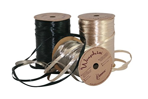 Raffia Gift Wrap Ribbon Bundle (Pearlized Black/Taupe/Ivory)