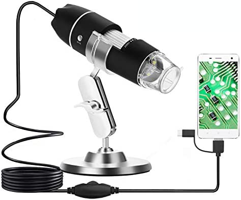 Hayve Digital Microscope 1600X Handheld Mini USB Microscope,1080P Industrial Grade HD Magnification with 8 LED Lights,Support USB2.0 and OTG Compatible with Windows Linux Andriod MicroUSB/&Type-C