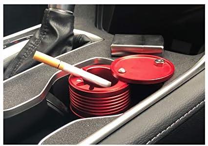ステンレス鋼の金属カバー灰皿が付いている車の灰皿多機能車 (Color : Red)