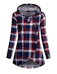 Women's Casual Plaid Funnel Neck Tunic Pullover Hoodies Pocket Long Sleeve Drawstring Sweatshirts