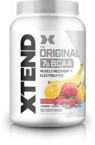 Scivation Xtend BCAA Powder, 7g BCAAs, Branched Chain Amino Acids, Keto Friendly, Knockout Fruit Punch, 90 Servings