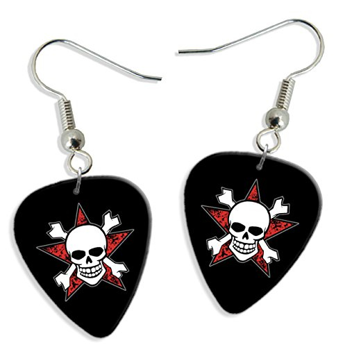Skull Crossbones Red Star 2 X Logo Guitar Pick Earrings (GD)