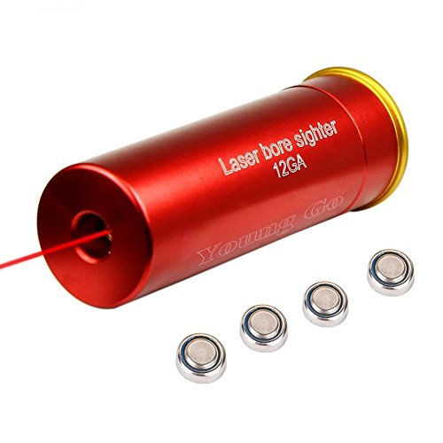 Young go 12 Gauge Cartridge Laser Bore Sight, 12GA Red Dot Laser Boresighters, Red Copper 12GA Rifle Hunting Optics Scope Laser Bore Sight Sighter