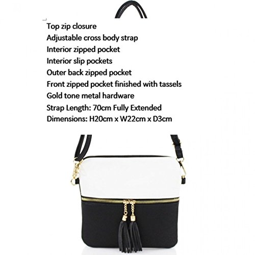 H20cm D3cm Small Party X Tassel Black W22cm Small Her Bags Nice Handbags LeahWard CW9118 X Soft Women's Bags Cross Holiday Body Shoulder For UzFBq