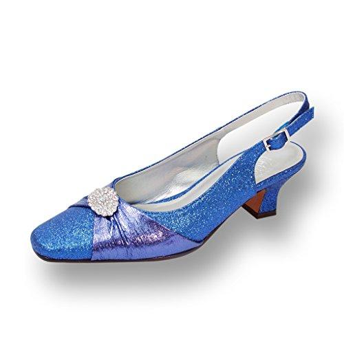 FIC FLORAL Elaine Women Wide Width Evening Dress Shoe for Wedding, Prom & Dinner (Size/Measurement Chart) Blue