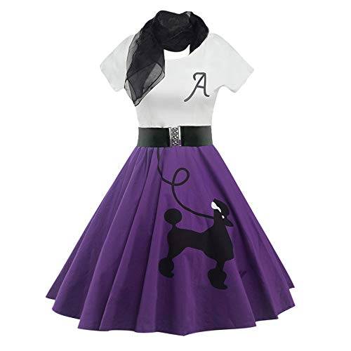 DressLily Retro Poodle Print High Waist Skater Vintage Rockabilly Swing Tee Cocktail Dress (Medium, Purple)