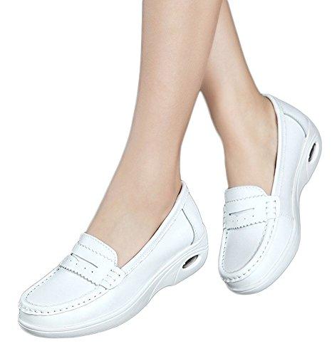 Minetom Damen Casual Leichte Mokassins Sport Schuhe Flache Arbeitsschuhe Rutschfest Slipper Damenschuhe Low-Top Plateau Halbschuhe Stil 01