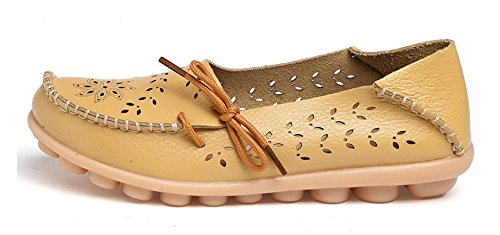 Venuscelia Dames Ademend Comfort Walking Flat Loafer Geel