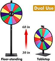 T-SIGN 24 Inch Dual Use Spinning Prize Wheel Stand, Tabletop or Floor Spinner Stand, 14 Colorful Slots with Dr