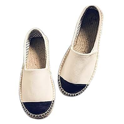 qzunique Women's Qz Canvas Slip-On Shoes Loafers Classic Casual Sneakers Flats 8 B(M) US Beige