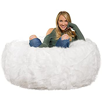 Comfy Sacks 4 Ft Memory Foam Bean Bag Chair White Furry