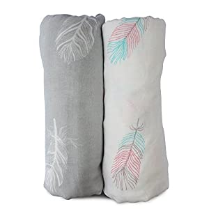 Muslin Swaddle Blankets Large Size-SUPER Soft Breathable Bamboo Cotton Prevents Overheating-Multi-Use Set of 2 Gender…