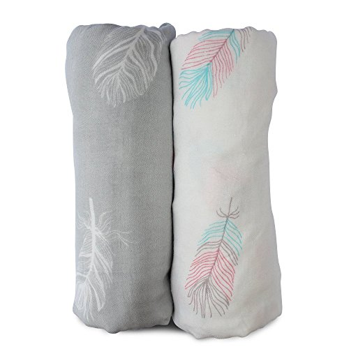 Swaddling Baby Blanket Flannel (Muslin Swaddle Blankets Large Size-Super Soft Breathable Bamboo Cotton Prevents Overheating-Multi-Use Set of 2 Gender Neutral Design Nursing Cover-Swaddling Blanket Feather Print Boy Girl-Burp Cloth)