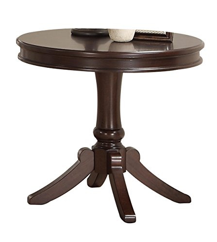 Homelegance Marston Contemporary Round End Table with Pedestal Base, Dark Cherry (Homelegance Contemporary End Table)