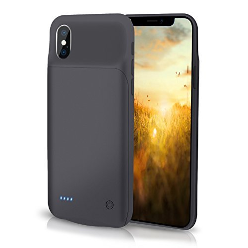 iPhone X 3200mAh Battery Case, Tbeat Slim Protective Battery Pack Charger Case Support Lightning Wired Headphones, Rechargeable Extended Power Bank for iPhone X/10(5.8 inch) Black
