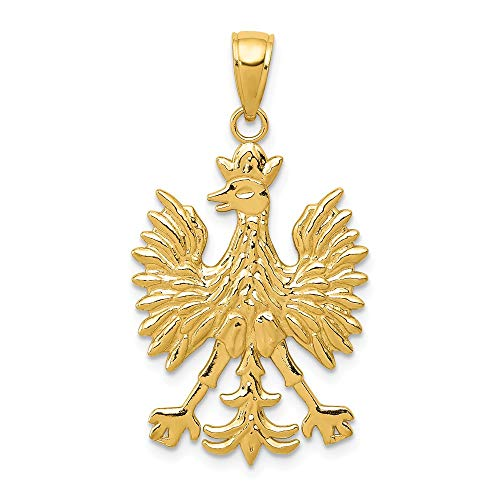 14k Yellow Gold Polish Eagle Pendant