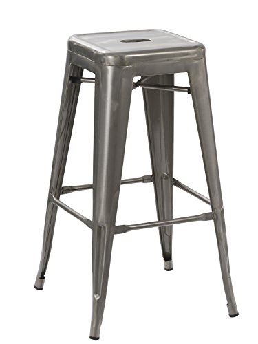 BTEXPERT 5003DM-1 Solid Steel 30-inch Industrial Tabouret Vintage Antique Rustic Style Distressed Metal Brush Modern Dining Room Counter Bar Stool-(Barstool), Stacking - Dining Stool Bar Room Metal